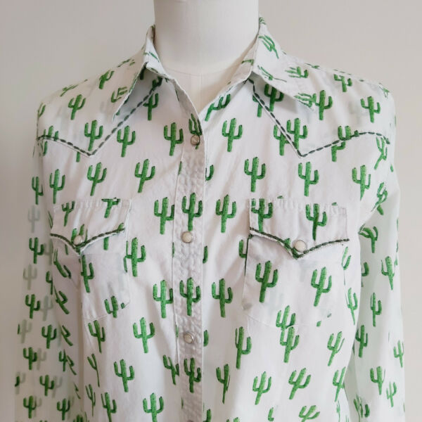 Ladies Wrangler Allover Cactus Print Western Shirt Snap Front Large 43quot; Bust $32.99