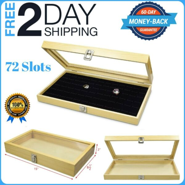 LARGE WOOD WATCH BOX GLASS TOP JEWELRY RING DISPLAY WOODEN ORGANIZER CASE NATUAL
