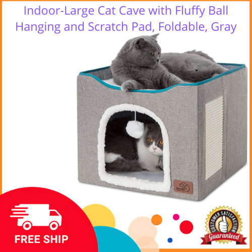 Indoor Large Cat Cave with Fluffy Ball Hanging and Scratch Pad Foldable Gray $40.99