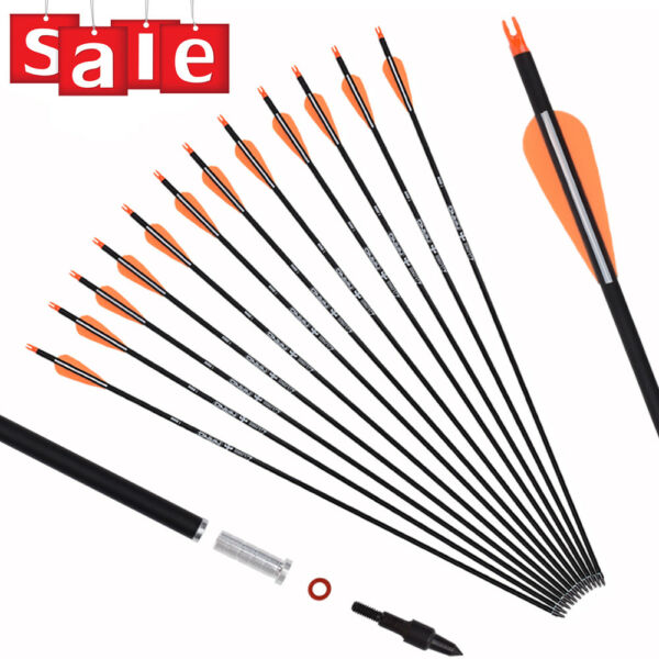 12x 26 28 30in Archery Carbon Hunting Target Arrows for Recurve amp; Compound Bows $32.54