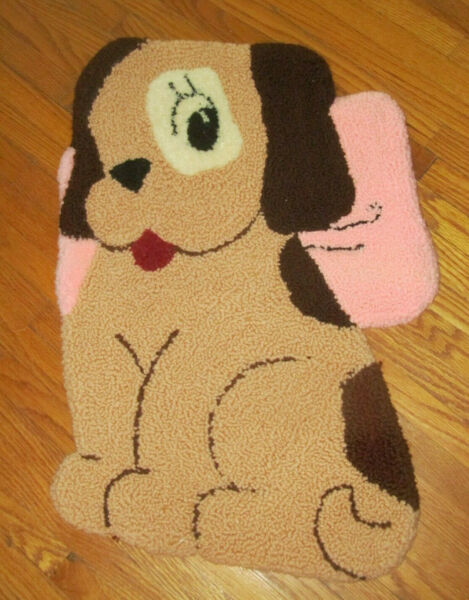 Never Used Vintage Puppy Dog Shaped Hooked Rug Handmade w Backing Liner 25x17 $19.99