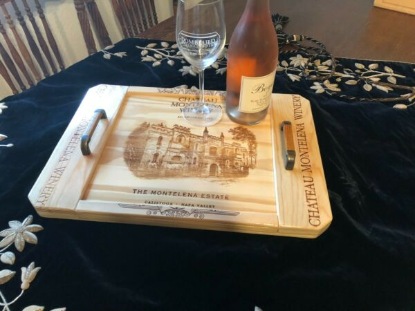 Chateau Montelena Mac#x27;an Napa Valley wine crates serving tray
