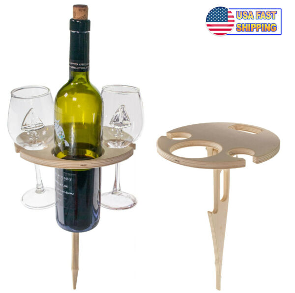 Portable Outdoor Wine Table With Bottle Holder Foldable Wooden Wine Glass Holder