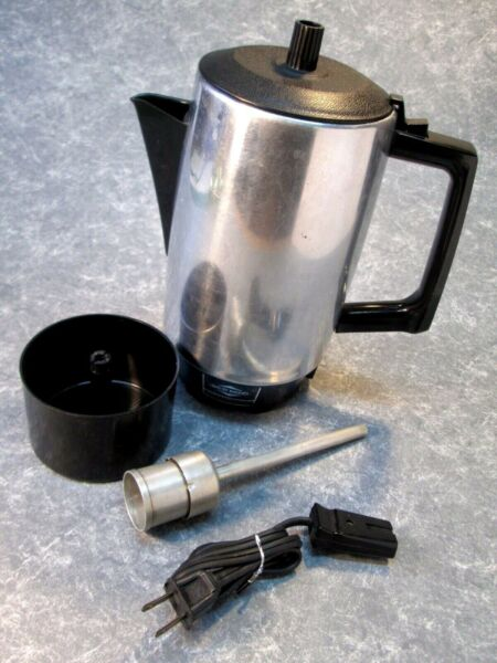 Vintage Coffee Percolator WEST BEND AUTOMATIC 9 Cup Aluminum Working