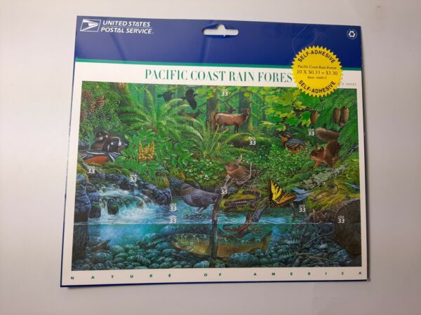 U.S. Postage Stamp Sheet #3378 Pacific Coast Rain Forest 33 cent 10