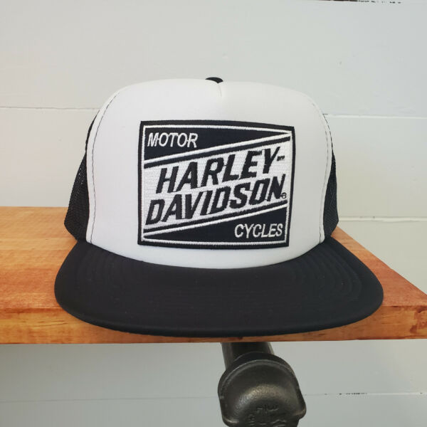 Harley Davidson Motorcycle Flat Billed White and Black Trucker Hat with Sheild $20.00
