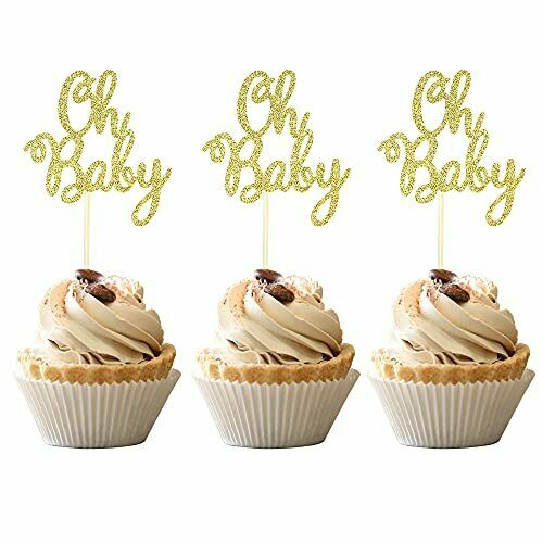 36 PCS Oh Baby Cupcake Toppers Glitter Baby Shower Cupcake Picks Decorations ...