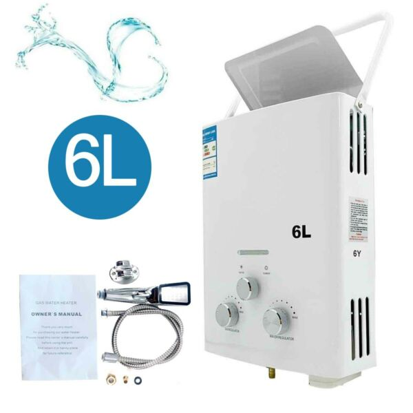 6L 12KW Natural Gas Tankless Water Heater 1.58GPM Instant Heater W Shower Kit $89.05