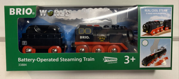Brio World Wooden Railway Battery Operated Steaming Train #33884 New