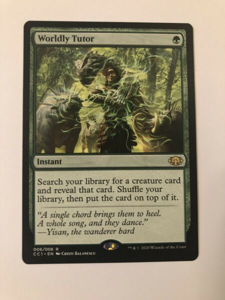 1x Magic the Gathering MTG Worldly Tutor Commander Collection Green NM