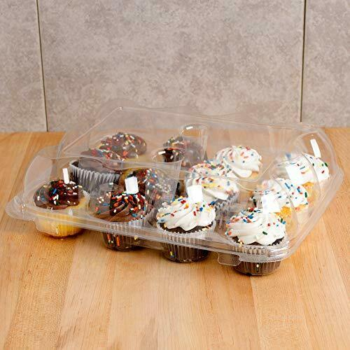 Plastic Disposable 3 High Dome Cupcake Boxes 12 Cupcake Containers