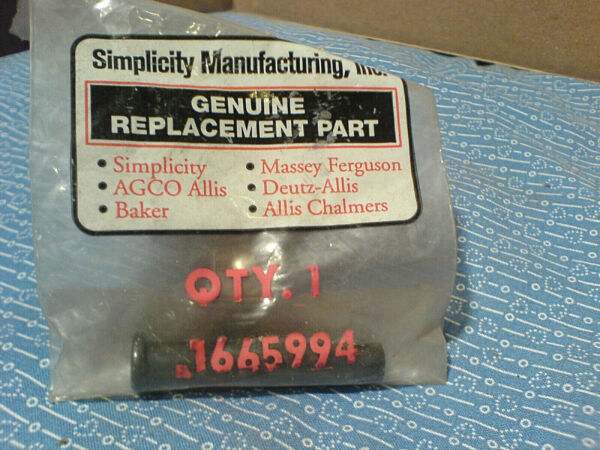 SIMPLICITY SNOWTHROWER AXLE FLAT HEAD DRILLED PIN. 1665994 NEW OEM PART H 70