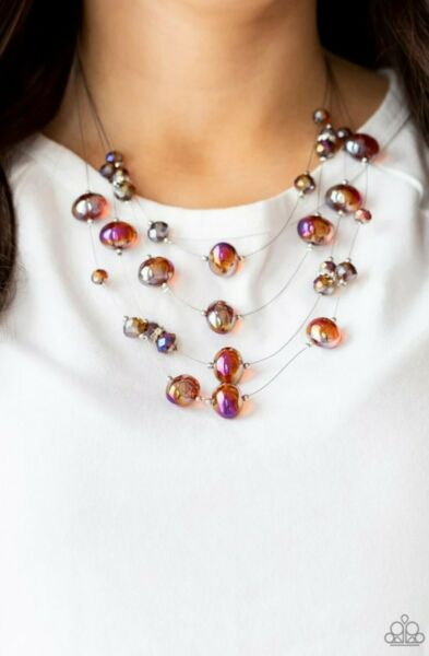 Paparazzi Jewelry Necklace Cosmic Real Estate Oil Spill Iridescent Multi Brown