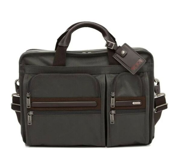 TUMI Expandable Organizer Computer Briefcase MSRP $425 Grey Brown NWT $199.00