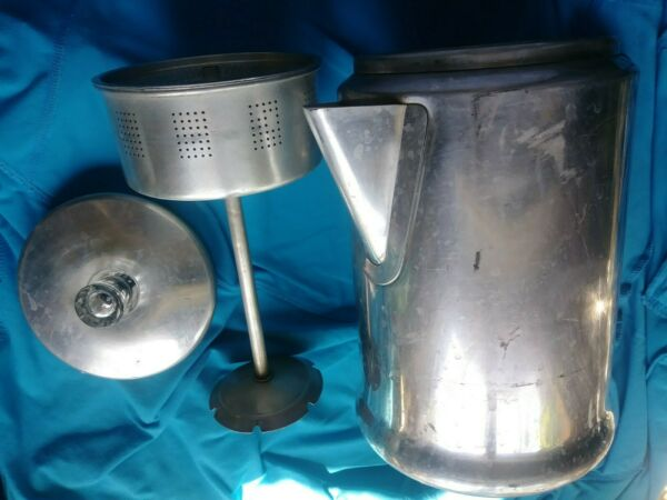 14 cup CENTURY ALUMINUM COFFEE POT WITH PARTS BASKET STEM LID camp STOVE
