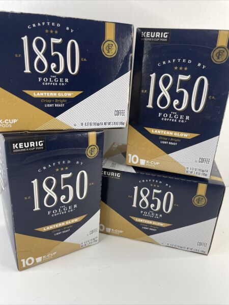 4 Boxes Folgers 1850 Lantern Glow 40 Keurig Cups K Cups New In Sealed Box.