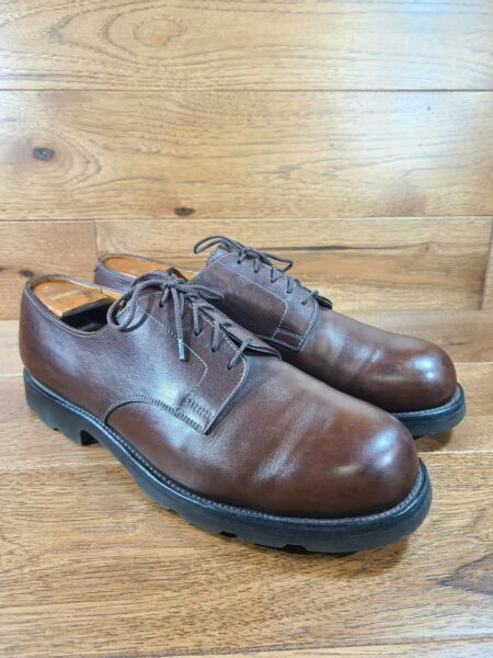 J.M. Weston Brown Leather Plain Toe Derby Shoes Size US 12.5 Made In France