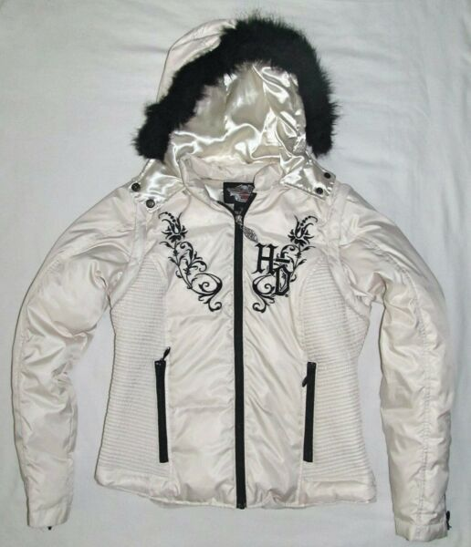 Harley Davidson White Duck Down Fur Puffer Vest Jacket Coat Womens Size Small $99.60