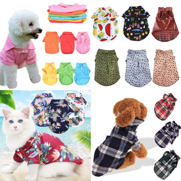 Cute Pet Cat Dog Plaid Shirts Clothes for Puppy Chihuahua Summer Vest T shirts# $2.75