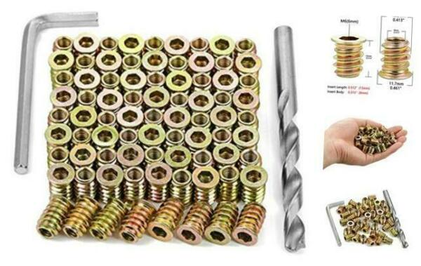 80 Pieces M6 Wood Inserts Bolt Furniture Screw in Nut Threaded M6x13mm $18.62