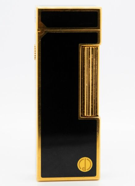 Dunhill Rollagas Lighter Gold Plated Lacquer Black Working Model #28200 $199.00