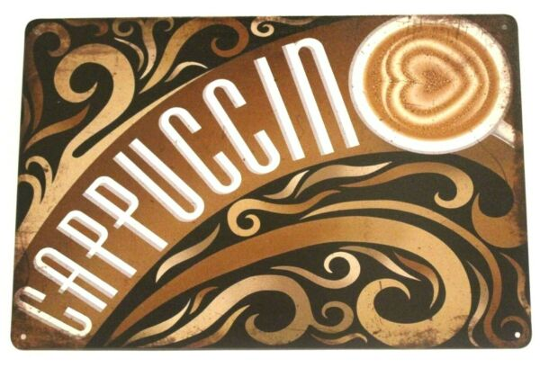 New Fresh Hot Cappuccino Coffee Tin Sign Bar Rustic Vintage Ad Style Shop Diner