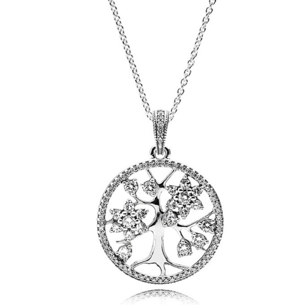 AUTHENTIC PANDORA NECKLACE STERLING SILVER FAMILY TREE NECKLACE #390384CZ 70CM