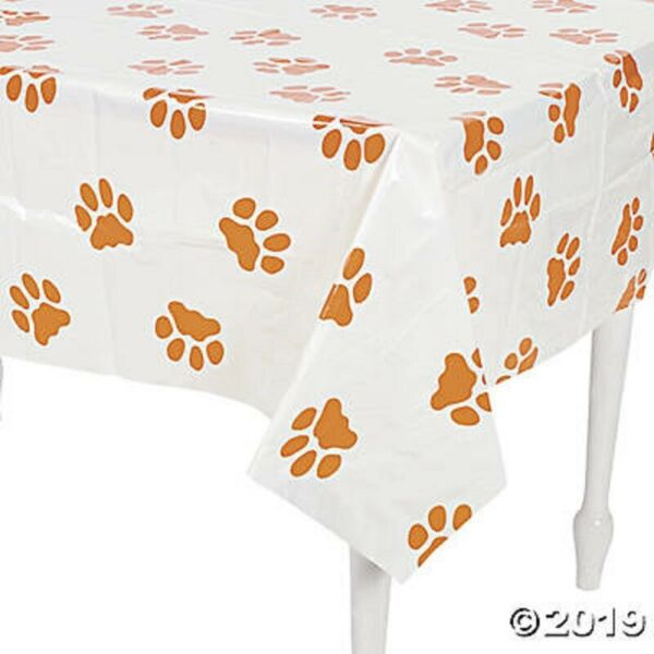Paw Print Puppy Dog Table Cover Tablecloth Kids Birthday Party Decoration $9.59