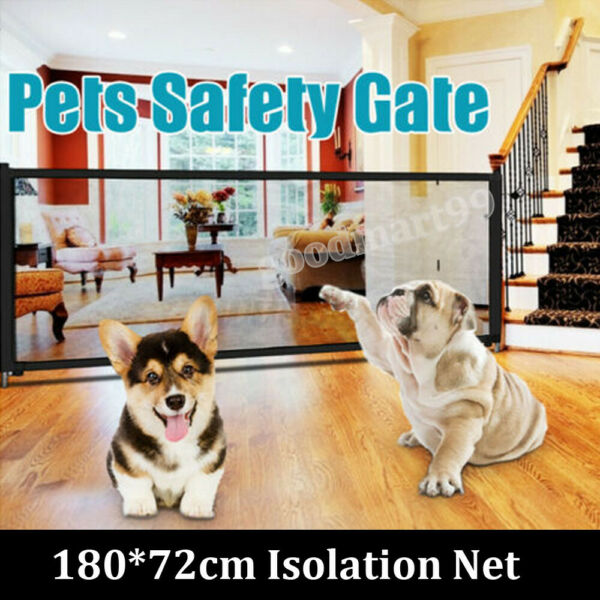 Safety Retractable Pet Dog Gate Guard Folding Baby Toddler Stair Magic Isolation $11.55