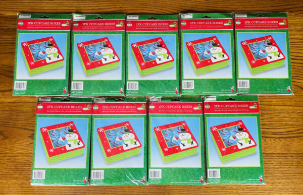 LOT OF 18 CHRISTMAS SNOWMAN CUPCAKE BOXES Cookie Boxes Bakery Gift Muffin