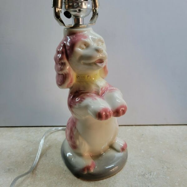 Vintage Pink and White Pottery Begging Spaniel Dog Table Lamp $32.50