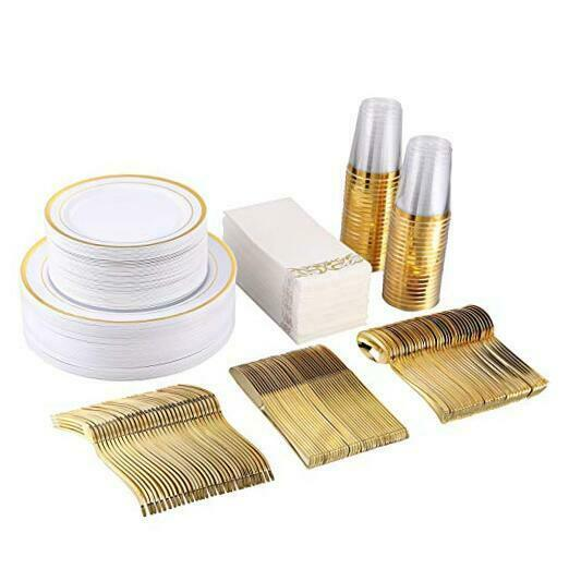 350 Piece Disposable for Party or Wedding 100 Gold Rim Gold Dinnerware Set $96.25