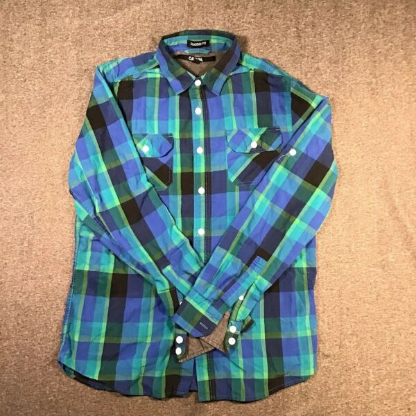 Carbon Men#x27;s Multicolor Check Print Full Sleeves Classic Fit Shirt Size S $11.99