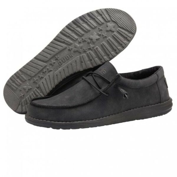 Hey Dude Wally Recycled Leather Carbon Men#x27;s Shoes Comfortable Lightweight Shoes $64.99