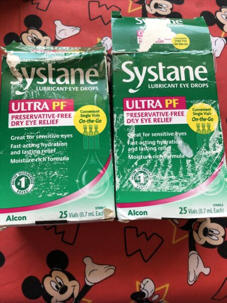 2 Systane Ultra PF Lubricant Eye Drops 25 Vials Ea Exp:2 22 OPEN BOXES Read⬇️ $14.00