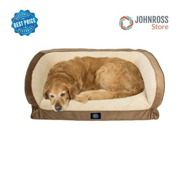 Serta Orthopedic Memory Foam Couch Pet Soft Large Sleep Bed L Dog Pillow Brown $146.96