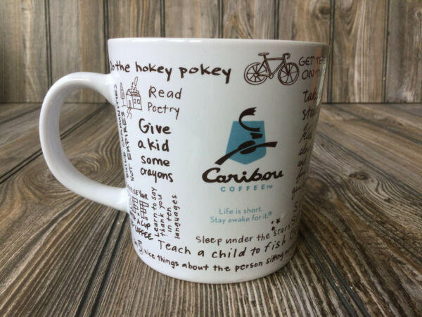 Caribou Coffee Ceramic Mug Cup Life Is Short Stay Awake For It 16 oz 2011