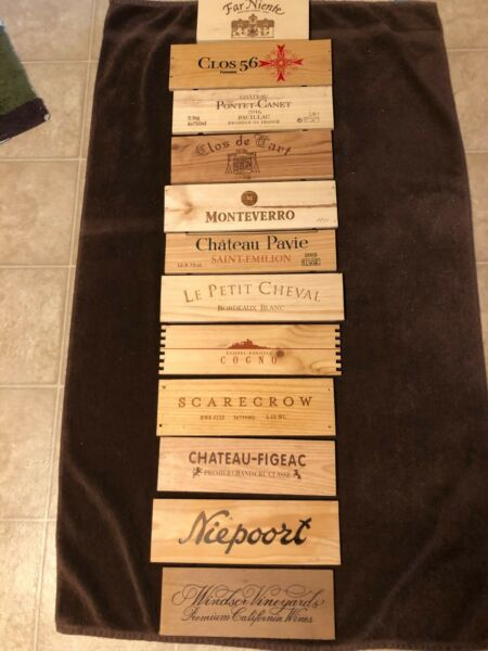 12 Different small wooden wine box end panels