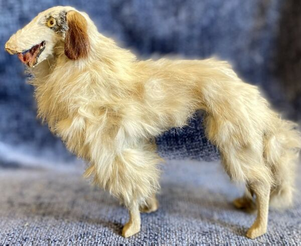 """Antique French Very Large 8"""" C1890 Borzoi Dog To Display W French Fashion Doll $695.00"""