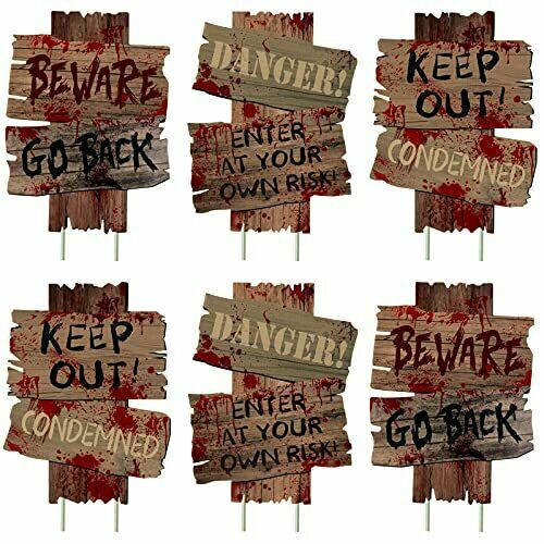 Halloween Decorations Beware Signs Yard Stakes Outdoor 6 Pieces 16.5quot; x 12.2quot; $38.79