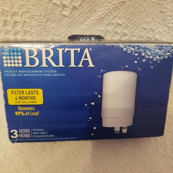 Brita Faucet Replacement Water Filters White 3 PACK Removes 99% of Lead open box