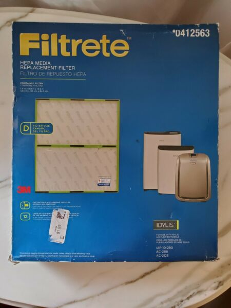 3M Filtrete Hepa Media Replacement Filter Size D for use w Idylis Air Purifier $29.99