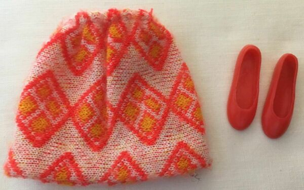 Vintage Barbie Skipper Turn Abouts #3295 Red amp; Yellow Knit Short Skirt 274 34