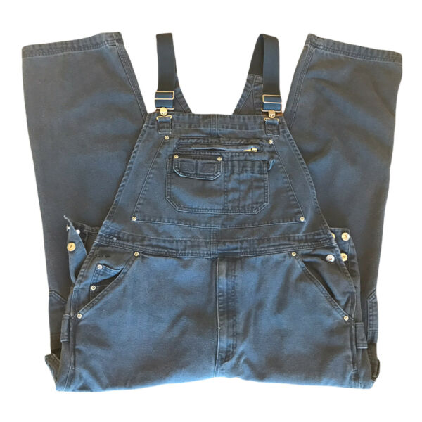Duluth Trading Co Overalls Men's Blue Canvas Carpenter Cargo Size 42x30