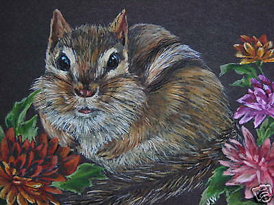 Chipmunk animal wildlife Fall Mum print of Painting