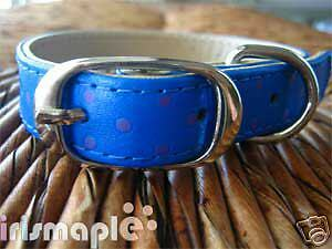 Fancy Dog Pet Blue polka dots Leather Collar size M $4.99