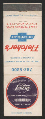 1969-70 Los Angeles LAKERS Matchbook Schedule