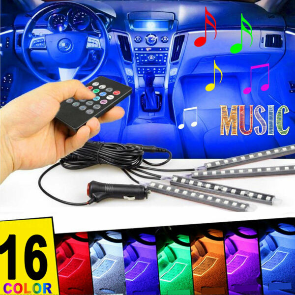 4Pcs Car Interior Atmosphere Neon Strip Lights 48LED Wireless IR Remote Control