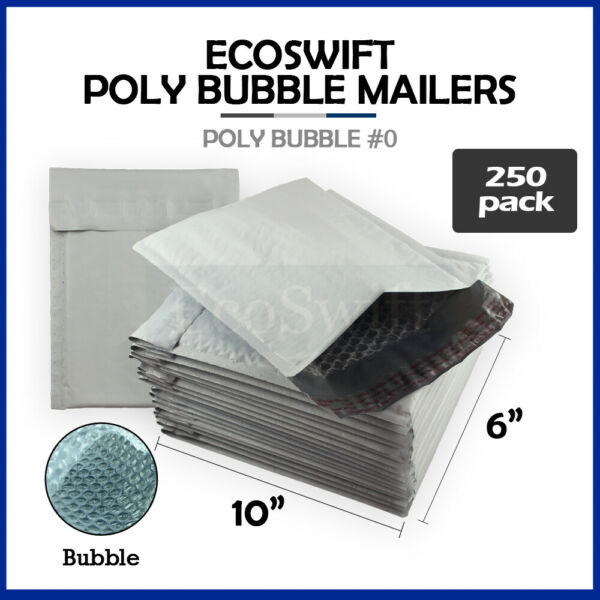 250 #0 6x10 Poly Bubble Mailers Padded Envelope Shipping Supply Bags 6