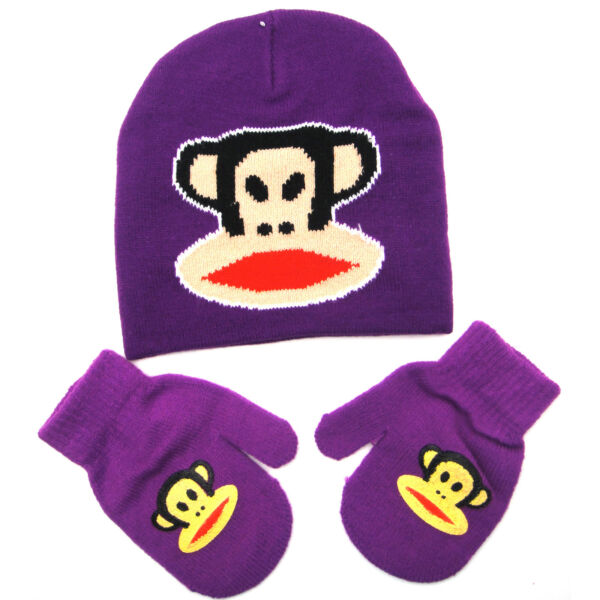 Paul Frank Julius Monkey Glue Prt Beanie Hat Mitten Gloves Purple Set Girls Kids